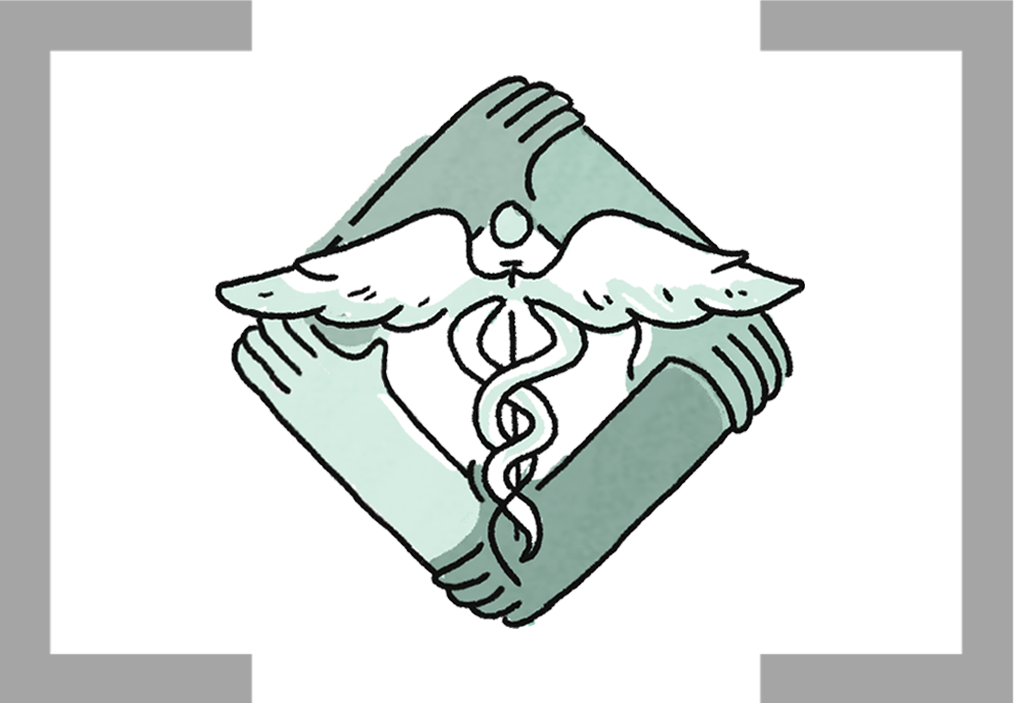 Caduceus with a border of four hands grasping each other