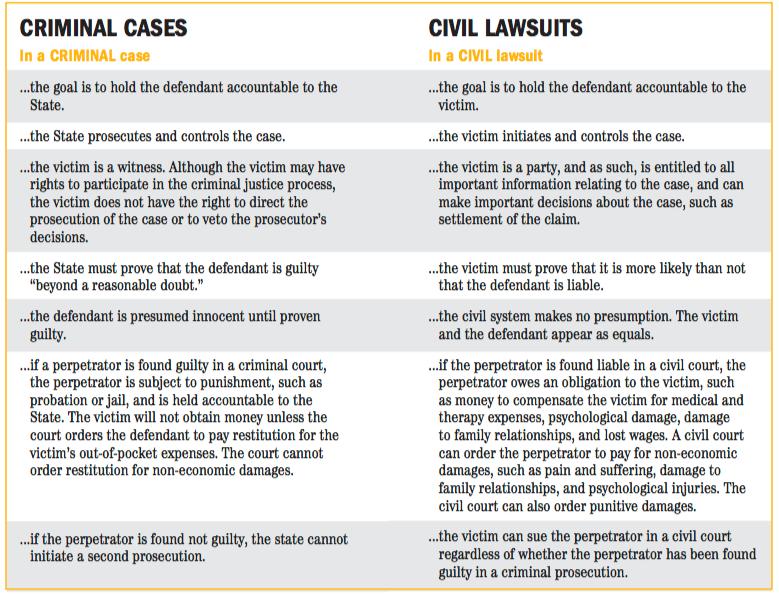 Criminal Cases vs Civil Rights Lawsuits, an explainer